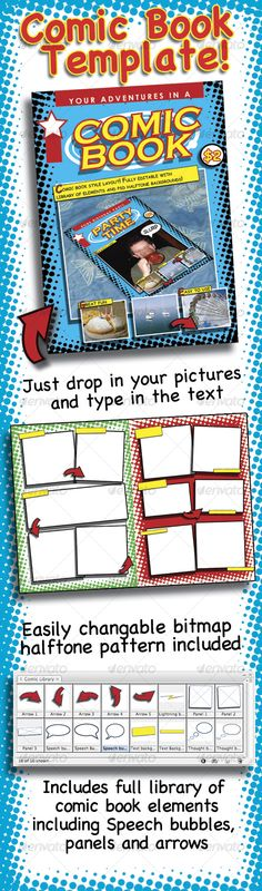 Buy Comic Book template by RCLEWIS on GraphicRiver. Fun and useful comic book template. Great for kids or adults alike. Immortalize birthday parties, nights out or holid. Comic Book Yearbook, Yearbook Covers, Comic Books, Yearbook Spreads, Halftone Pattern, Pattern Art, Yearbook Design, Yearbook Ideas, Yearbook Theme