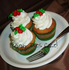 Holly Berry Cupcakes by PeggyDoesCake
