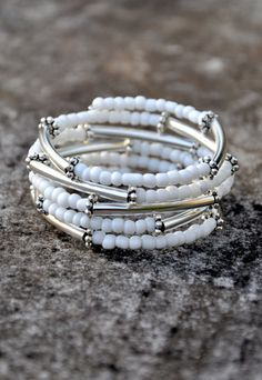 White Beaded Silver Bar Boho Wrap Bracelet by HoleInHerStocking memory wire bracelet, bohemian, fashion, jewelry