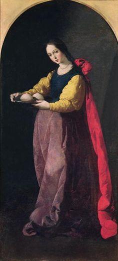 Agatha van Sicilië (225-251), Francisco de Zurbaran 1630-33. (martel)tang, palmtak, schaar en haar afgesneden borsten op een schaal. Borstkanker, brandgevaar, als de Etna rommelt. 1/7 primaire heiligen.