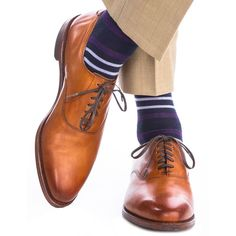 Dress Blue with Purple and Sky Blue Double Stripe Sock with Fine Merino Wool Linked Toe Mid-Calf