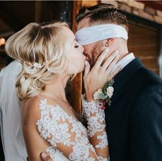 Such a cute idea. Have someone blindfold the Groom and then the bride kiss the groom after she's done getting ready right before the wedding starts.