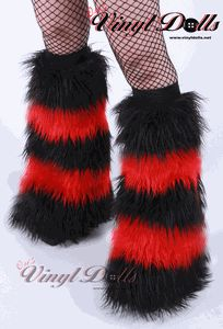 Fluffies Leg Warmers - Striped Bright Red / Black