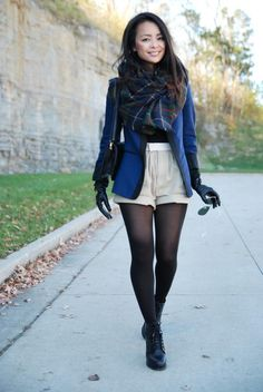 sorts with black tights