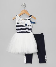 Take a look at this Navy & White Stripe Nautical Tutu Dress & Leggings - Toddler by Mia Belle Baby on #zulily today!
