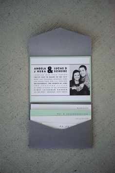 4x5 Pocket Wedding Invitation - Charcoal & Mint Green favorite one! Would like coral better