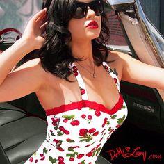 Demi Loon DIY Rockabilly Pinup Lolita Cherry 50s Vtg Sexy Halter Top s M 2 x L | eBay