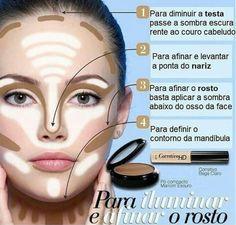 Cada pessoa tem um formato de rosto e o contorno facial deve ser pensado usando tecnicas de luz e sombras para tornar o rosto mais harmônico ajustando suas proporções.