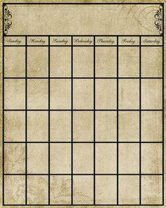 Calendar Template: Put in frame behind glass and use dry erase marker on it