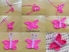 Crochet butterfly tutorial Ch in the first chain to form a circle. Baby Knitting Patterns, Owl Crochet Patterns, Crochet Stitches Free, Crochet Motifs, Christmas Crochet Patterns, Crochet Butterfly Free Pattern, Crochet Puff Flower, Cordon Crochet, Borboleta Crochet