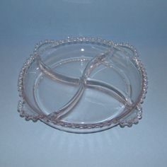Old Clear Glass Candlewick Closed Handle Divided Relish Dish Tray Bowl Plate 9.5 Inches by thenewenglandhuswife on Etsy