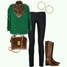 My fav thing about this outfit.pairing a leopard scarf with the green sweater. Already putting fall outfits together lol Fashion Mode, Look Fashion, Womens Fashion, Fall Fashion, Mode Chic, Mode Style, Casual Date Night Outfit, Casual Outfits, Casual Jeans