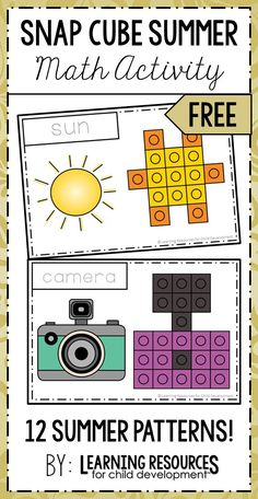 Snap Cube Summer Activity for math patterns. Free Printable | Free Activity by Learning Resources for Child Development.  #summeractivity #summerprintable #preschoolmath #kindergartenmath #mathpatterns #freeprintable #freeactivity #mathprintable #handsonlearning #learningresources