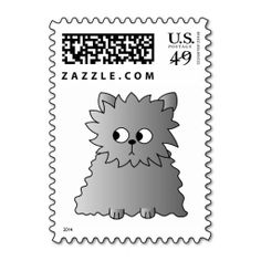 Cute Gray Fluffy Cat. Postage. This great stamp design is available for customization or ready to buy as is. Of course, it can be sent through standard U.S. Mail. Just click the image to make your own!