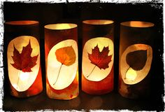 Adore these Fall lanterns. Would look great for our Thanksgiving Feast. Autumn Crafts, Fall Crafts For Kids, Autumn Art, Nature Crafts, Thanksgiving Crafts, Thanksgiving Feast, Paper Bag Lanterns, Fall Lanterns, Candle Lanterns