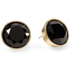 Pim + Larkin Opaque Round Faceted Stud Earring ❤ liked on Polyvore featuring jewelry, earrings, accessories, brincos, black, black round earrings, stud earrings, round earrings, kohl jewelry and black stud earrings