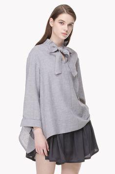 Bow tie frill neckline flare blouse