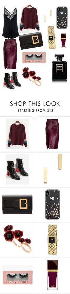 """""""classy burgundy"""" by walerie ❤ liked on Polyvore featuring Brandon Maxwell, MANGO, Jennifer Meyer Jewelry, Bally, Kate Spade, Futuro Remoto, Chanel and Tom Ford"""