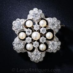 Antique Diamond and Natural Pearl Snowflake Brooch and Pendant - Antique & Vintage Pins and Brooches - Shop for Jewelry