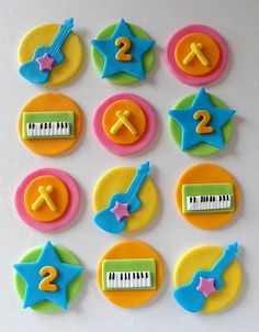 12 Fondant edible cupcake/cookie toppers - Rock Band cupcake toppers with customized age on Etsy, $25.00