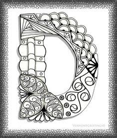 Zentangle D Monogram Alphabet Illustration by Lana | We Heart It