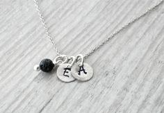 Personalized Initials Necklace, Custom Hand Stamped Sterling Silver, Lava Rock Charm, ID Dainty Necklace, Personalized Gift, Monogram Charms