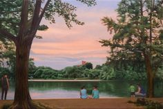 "Prospect Park Lake, 24"" x 36"" oil painting by Nick Savides"