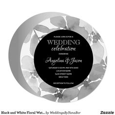 Shop Black and White Rustic Floral Circle Bridal Shower Invitation created by WeddingsByYanaBor. Bridal Shower Luncheon, White Bridal Shower, Brunch Invitations, Elegant Invitations, Silver Wedding Invitations, Bridal Shower Invitations, Watercolor Circles, Floral Watercolor, Here Comes The Bride