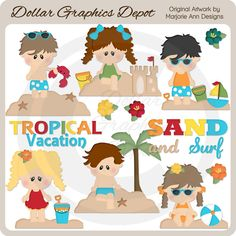 Tropical Vacation 1 Clip Art, by Marjorie Ann Designs - Only $1.00 at www.DollarGraphicsDepot.com : Great for printable crafts, web graphics, scrapbook pages, greeting cards, gift tags / labels, gift boxes / bags, postcards, iron-on transfers, luggage tags, vacation journals / photo albums, printable photo frames, and much more!