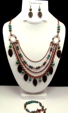 Bold Blue Sky with Leaves Statement Necklace by byBrendaElaine, $48.00