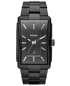 Fossil Watch, Men's Dress Black Ion Plated Stainless Steel Bracelet 49x33mm FS4678 - Men's Watches - Jewelry & Watches - Macy's