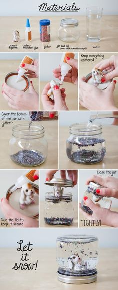 DIY Snow Globe: Change to snowman for XMAS   (Try a baby food jar and with mineral oil instead of water for a gentler snow fall. ) #Snow_Globe #modcloth - Click image to find more DIY & Crafts Pinterest pins -- made these for Ande's last birthday party... it was super cute