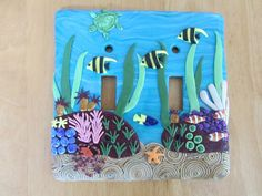"Polymer Mosaic Double Light Switchplate ""Under the Sea"" tropical reef in blue, green, brown and multi"