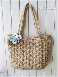 Completed shoulder bag of hemp and pine knitting ♪ Crochet Coin Purse, Bag Crochet, Crochet World, Crochet Purses, Filet Crochet, Crochet Handles, Mochila Crochet, Pink Tote Bags, Knitted Bags