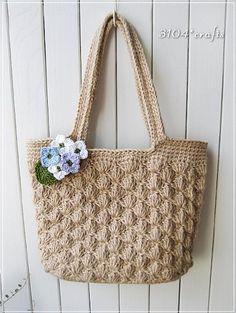 麻ひもの松編みショルダーバッグ 完成♪