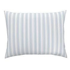French Ticking Pillow Sham - Sierra Blue Stripes by shopcabin - Shabby Chic Stripe Cotton Sateen Pil