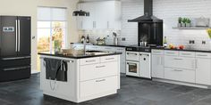 Stoves richmond kitchen with kitchen island and white metro tiles - white range cooker with double oven Kitchen Hoods, Old Kitchen, Kitchen Living, Kitchen Cabinets, Kitchen Ideas, Kitchen Island, Kitchen Inspiration, Foyers, Cooking Appliances