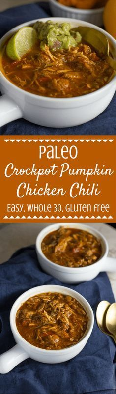 Looking for the perfect healthy chili? Try this Paleo Crockpot Pumpkin Chicken Chili! It's Whole 30 friendly, easy to make, and SO delicious! Perfect for serving on a chilly night or sharing with friends while watching football!| The Clean Eating Couple