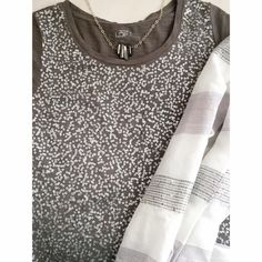 LOFT gray sequin tee Great little tee with some added sparkle. No missing sequins, beautiful condition. Sorry  No trades but all reasonable offers are welcome :) LOFT Tops Tees - Short Sleeve