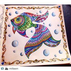 """""""Ameeeei as cores do peixe da @millawn  colorido bem vivo! ・・・・・・・・・・・・・・・・ Livro - Oceano Perdido #editorasextante #johannabasford ・・・・・・・・・・・・・・・・・…"""""""