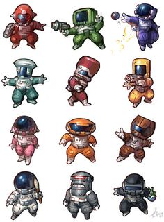 abyss characters and designs | Space suit guys