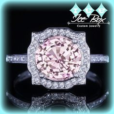 Cultured Pale Pink Sapphire Engagement Ring 8mm, 2ct Cultured Pink Sapphire in a 14k White Gold Diamond Halo Setting
