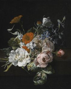 Rachel Ruysch | Still life of flowers with anosegay of roses, marigolds, larkspur, a bumblebee and other insects, 1695