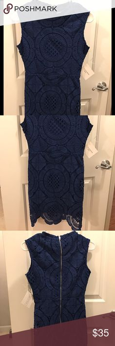 Brand new dress Brand new sweater lace overlay lined fitted dress with zip up back. Navy blue. New with tags. stella luce Dresses Mini