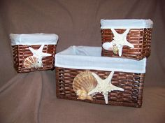 We all have these baskets . . . Add shells and starfish for a Beachy look . . .