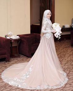 A-line Lace Pastel Muslim Wedding Dress With Big Train Muslim Wedding Gown, Malay Wedding Dress, Hijabi Wedding, Wedding Hijab Styles, Muslimah Wedding Dress, Muslim Wedding Dresses, Wedding Dresses With Flowers, Hijab Bride, Muslim Brides