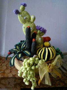 Comp Crochet Cactus, Crochet Motif, Crochet Flowers, Hand Crochet, Crochet Patterns, Cactus Craft, Cactus Decor, Cactus Plants, Free Crochet Bag