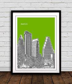 AustinTX Skyline Art Print City Poster   great by MyCityMyHome