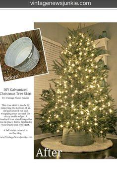 Love! I am so making this next year!! DIY Galvanized Tub Christmas Tree Stand