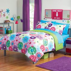 your zone reversible floral bedding comforter set, white.  Idea: Split wall color-white board on bottom and light aqua on top.  Purple curtains.